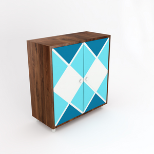 Pengu Wooden Shoe Rack - Geometric Blue - Walnut, Fits 12-15 pairs of shoe ( Also Available on Amazon India )