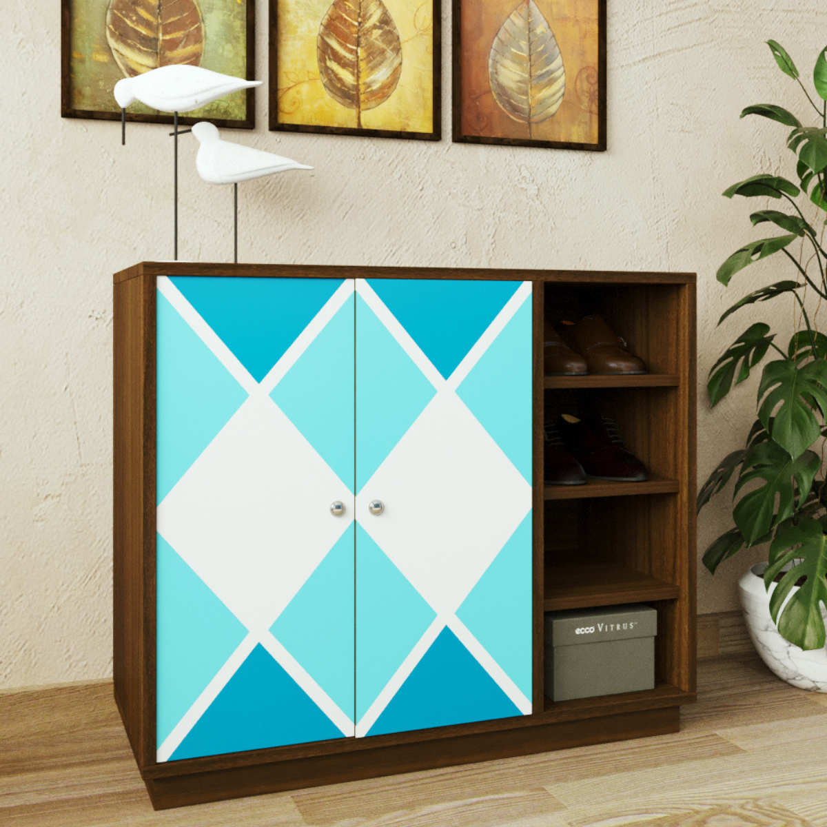 Pengu Wooden Shoe Rack - Geometric Blue