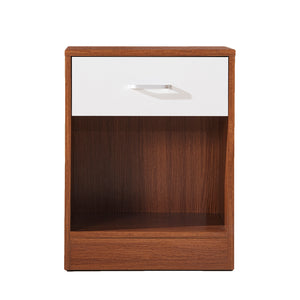 Pengu Bed Side Table / End Table - Walnut and White Finish