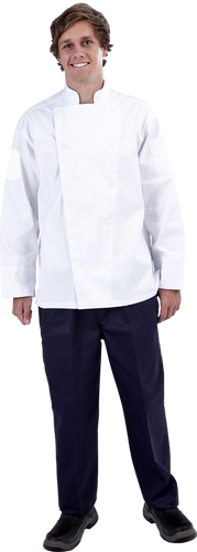 CR - Classic White (Fixed Buttons) Long Sleeve Chef Jacket - Global Chef