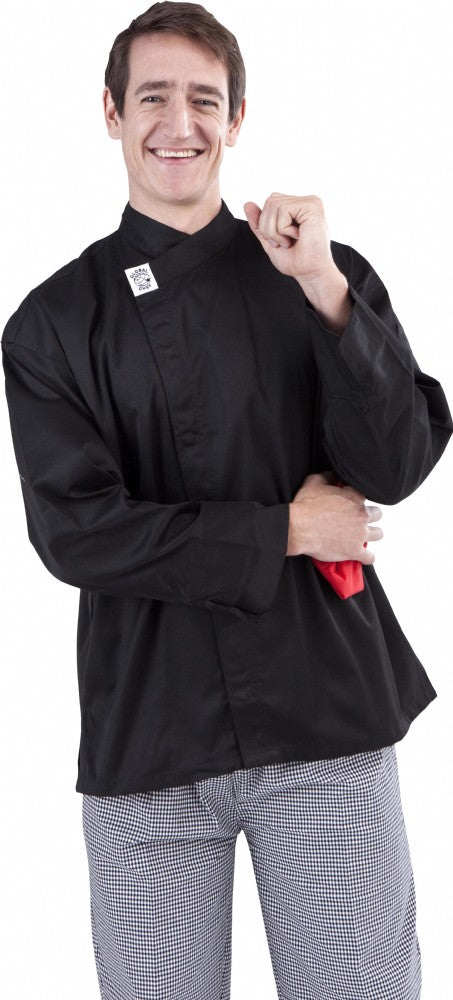 GC-Modern Black Long Sleeve Chef Jacket - Global Chef