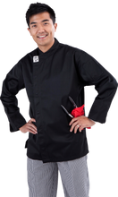 Load image into Gallery viewer, GC-Modern Black Long Sleeve Chef Jacket - Global Chef