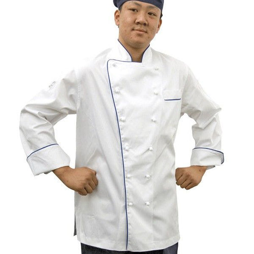 GC- Classic Long Sleeve 100% Cotton Chef Jacket (Blue Trim)