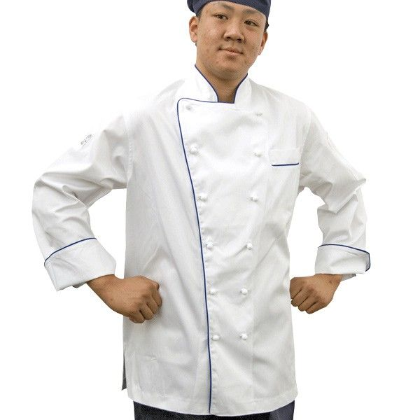 GC- Classic Long Sleeve 100% Cotton Chef Jacket (Blue Trim) - Global Chef
