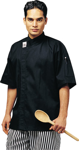 CR - Modern Black Short Sleeve Chef Jacket - Global Chef
