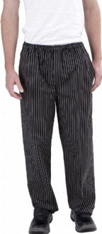 Black & White Pinstripe Drawstring Chef Pants - Global Chef