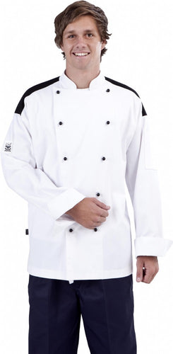 CR - Classic White Long Sleeve Chef Jacket (Black Panel) - Global Chef