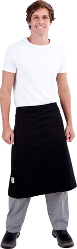 Black Chefs Waist 3/4 Apron - Global Chef