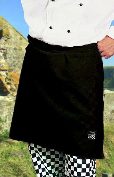 Black Chefs Waist 1/2 Apron - Global Chef