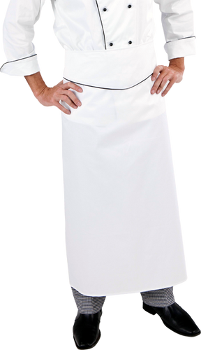 Extra Long White Executive Chef Waist Apron (Black Trim) - Global Chef