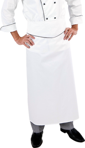 Extra Long White Executive Chef Waist Apron (Black Trim)