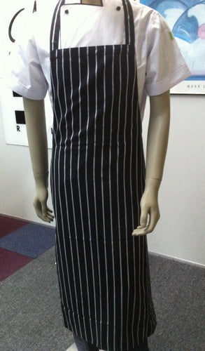 Navy & White Stripe DELI Length Chefs Bib Apron