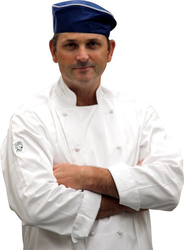 Blue Flat Top Hat (White Trim) - Global Chef