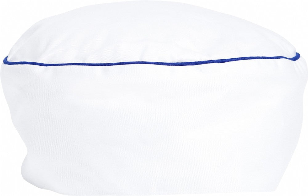 White Chef Hat 100% Cotton - Blue Piping