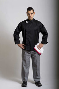 CR - Modern Black Long Sleeve Chef Jacket - Global Chef