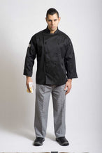 Load image into Gallery viewer, Black Traditional Long Sleeve Chef Jacket