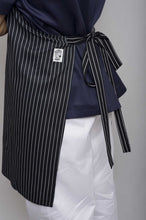 Load image into Gallery viewer, B&W Pin Stripe DELI Length Chefs Bib Apron - Global Chef