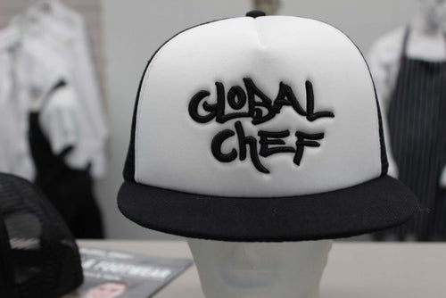White Contrast Funky Peaked Cap - Global Chef