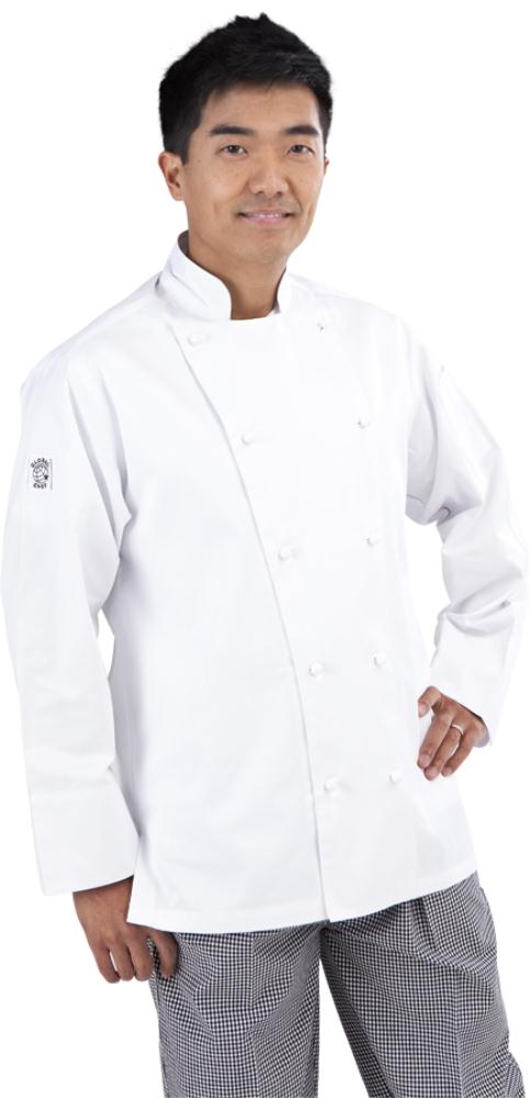 Traditional White Long Sleeve Chef Jacket - Global Chef
