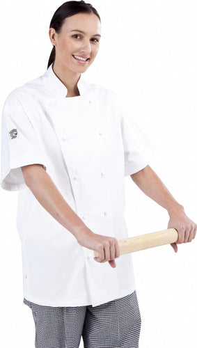 Traditional White Short Sleeve Chef Jacket - Global Chef
