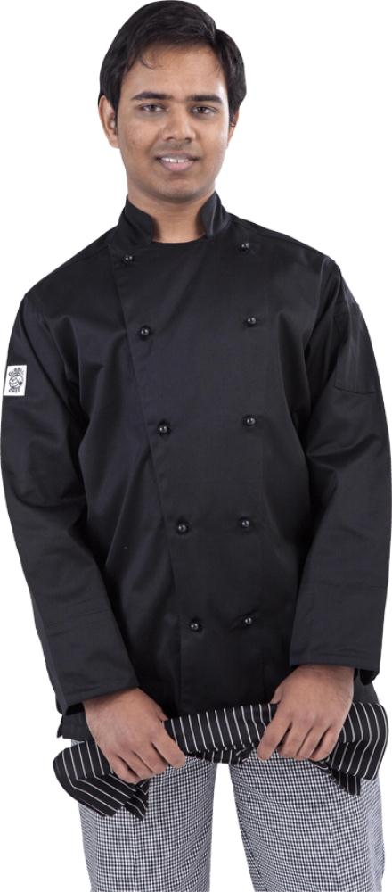 Black Traditional Long Sleeve Chef Jacket - Global Chef