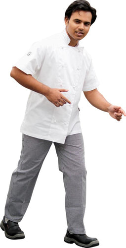 White Short Sleeve Traditional Chef Jacket with vents