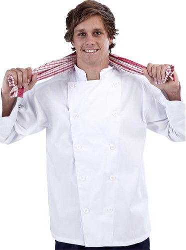 White Long Sleeve Chef Jacket (Sewn Buttons) - Global Chef