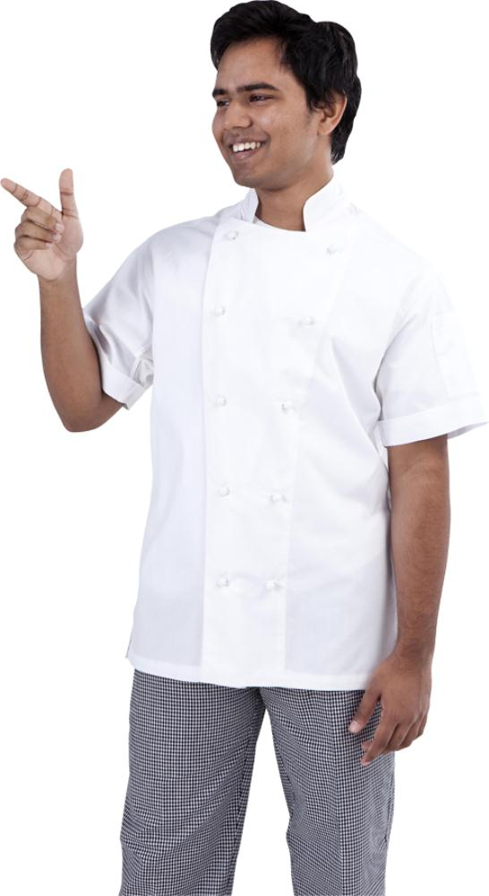 A150 White Short Sleeve Traditional Chef Jacket
