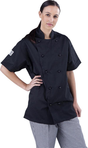 Classic Black Short Sleeve Chef Jacket - Global Chef