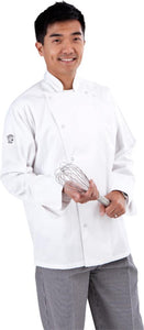Classic White Long Sleeve Chef Jacket (Ring Snaps) - Global Chef