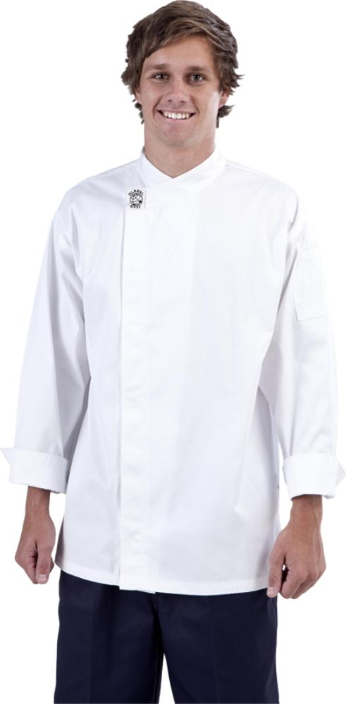 Modern White Long Sleeve Chef Jacket - Global Chef