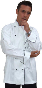 GC- Classic Long Sleeve 100% Cotton Chef Jacket (Black Trim) - Global Chef