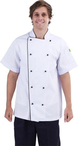 Brigade - Traditional White Short Sleeve Chef Jacket (Black Trim) - Global Chef