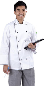 Brigade - Traditional White Long Sleeve Chef Jacket (Black Trim) - Global Chef