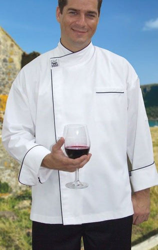 CR - Modern White Long Sleeve Chef Jacket (Black Trim) - Global Chef