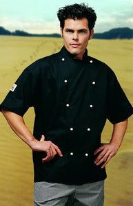 CR - Classic Black Short Sleeve Chef Jacket - Global Chef