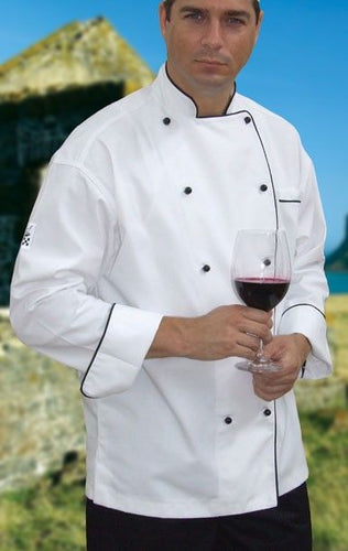 CR - Classic White Long Sleeve Chef Jacket (Black Trim) - Global Chef