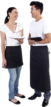 Load image into Gallery viewer, Long Black Waist 3/4 Apron (Pocket ) - Global Chef