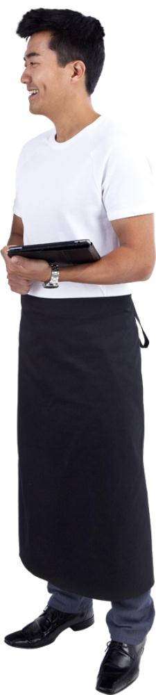 Long Black Waist 3/4 Apron (Pocket )