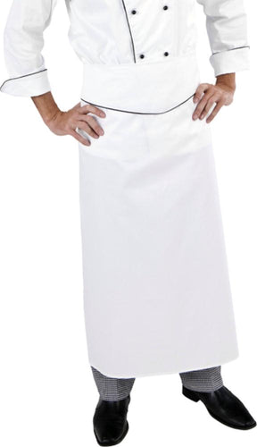 Extra Long White Executive Chef Waist Apron (Blue Trim)