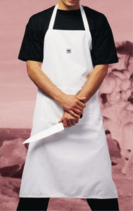 Full Length White Chef Bib Apron (Pocket)