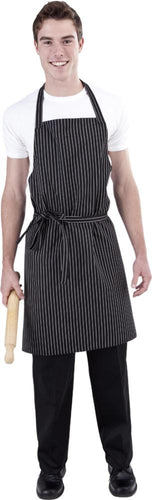 B&W Pin Stripe DELI Length Chefs Bib Apron - Global Chef