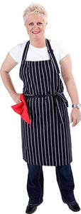 Navy & White Stripe DELI Length Chefs Bib Apron - (Adjustable Neck)
