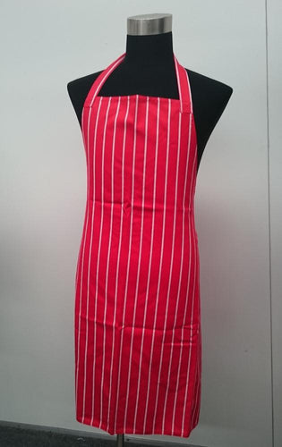 Red & White Stripe FULL Length Chefs Bib Apron