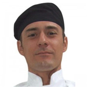 Black Flat Top Chef Hat - Global Chef