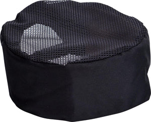 Black Coloured Chef hat with mesh to - one size