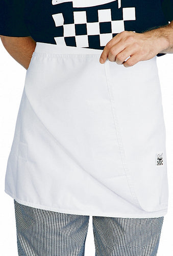 White Chefs Waist 1/2 Apron (4 Sided) - Global Chef