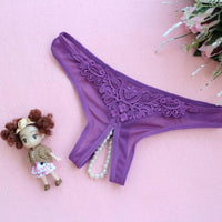 2017 New Embroidery G String Sexy Women Lady Pendant Pearl panties Low Waist Thongs Underwear Briefs Hollow Beads Panties