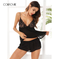 COLROVIE Lace Bodice Mesh Cami & Shorts Black Pajamas Women Sexy Casual Sheer Lingerie 2017 Patchwork Nightgown Slip Pajama Set