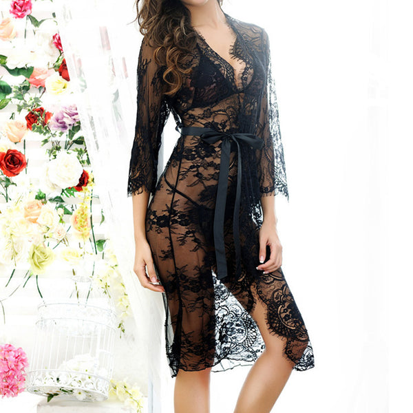 2018 Sexy Women Nightgowns Summer Hot Sale Sleepshirts 3/4 Sleeve O Neck Nightgowns Lace See-through Sleepwear
